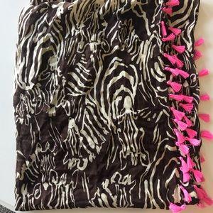 Lilly Pulitzer brown zebra Infinity scarf